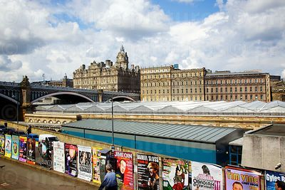 The 5 Star Rocco Forte Balmoral Hotel Across the Roof of Waverley Station with Street Advertising along a wall