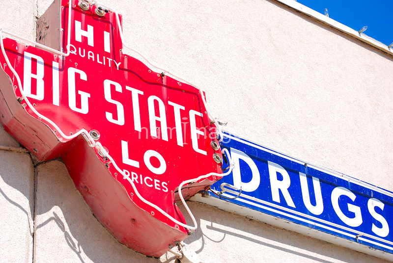 Big State Drugs sign in Irving, Texas (Texas shaped sign)