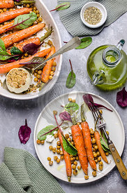 Roasted Carrots with crispy chickpeas and feta