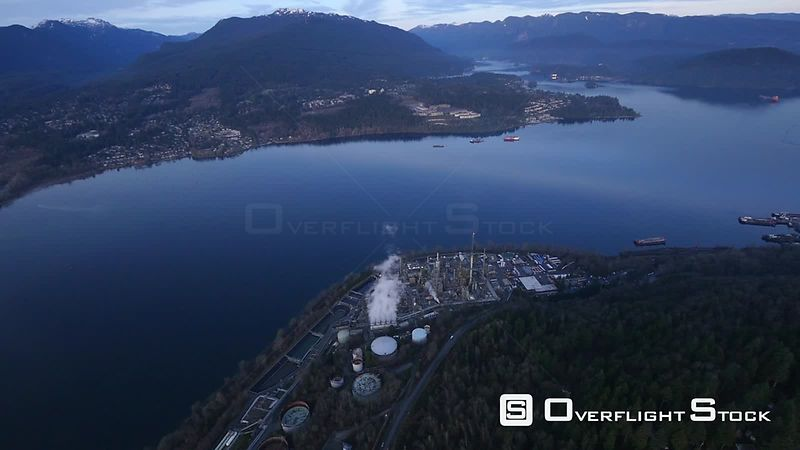 Oil Refinery in Burnaby and Burrard Inlet BC Canada