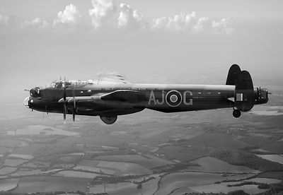 Lancaster AJ-G carrying Upkeep black and white version