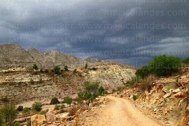 Stormy skies and dirt road, Torotoro National Park, Bolivia