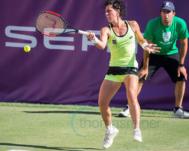 Catherine Bellis (USA) wining against Carla Suárez Navarro (ESP) the first round at the Mallorca Open 2017 in Santa Ponsa - Mallorca