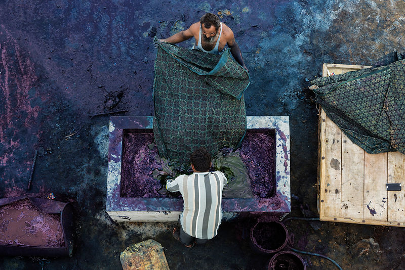 Fabric Workers Dyeing Block-printed Fabrics in Indigo Dye