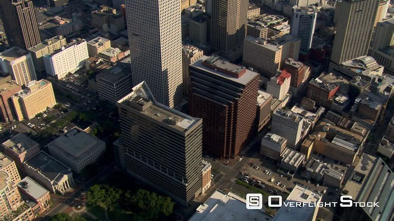 Slow flight over New Orleans skyscrapers.