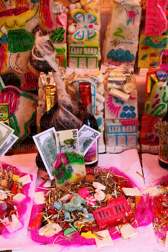 Mesas / offerings  with dried llama foetus (suyu) for sale on stall in Witches Market, La Paz, Bolivia