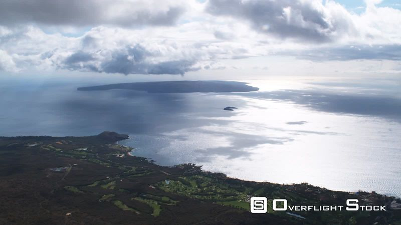 High view of Kahoolawe Island off coast of Maui, Hawaii.