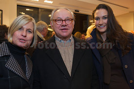 Hubert Burda, Ariane Ehrat, Sara Roloff Official Opening Party of the Willy Bogner Sport and Fashion Shop at the Plaza de Mauritius in Saint Moritz