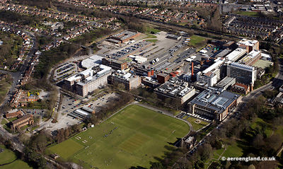 aerial photograph of the Cadburys chocolate factory in Bournville Birmingham UK