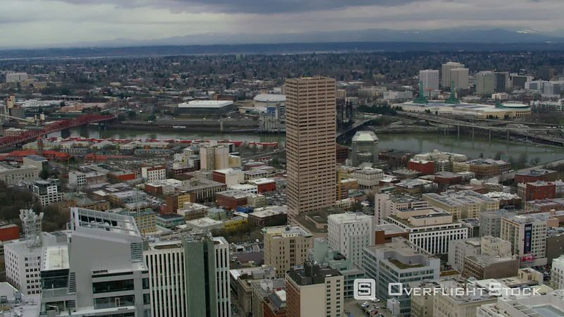 Aerial view of downtown Portland, Oregon buildings and Willamette River