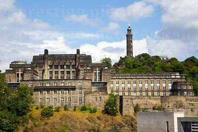 The Nelson Monument on Calton Hill with the Scottish Governement Building ST Andrews House in the foreground