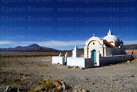Small church at Sivingani near Salinas de Garci Mendoza, Tunupa volcano in background, Oruro Department, Bolivia