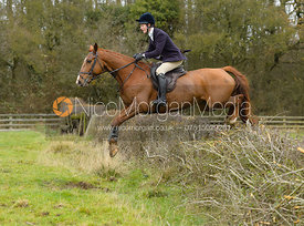 Willa Newton jumping a hedge by Orton Park - The Cottesmore Hunt at Manor Farm