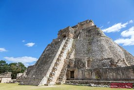 Famous pyramid in the mayan city of Uxmal, Yucatan, Mexico