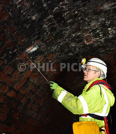Chirk tunnel undergoing it's regular inspection.