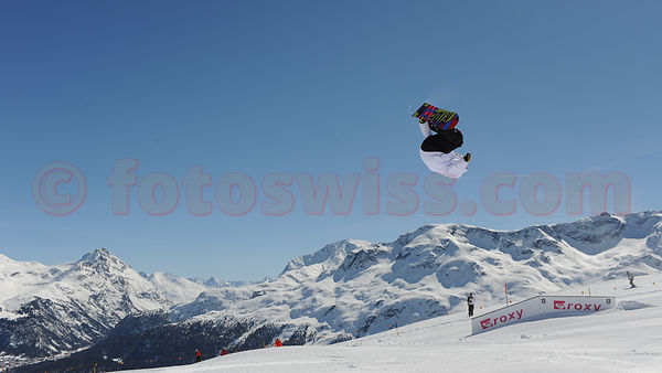 snowboarding on Slopes of Corviglia in Saint Moritz