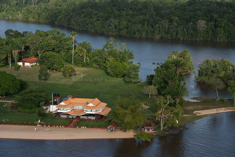 Aerial view of Baganara Resort on the Essequibo river, Guyana, South America