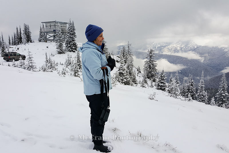 For a mid-day break we drove to the top of Salmo Mountain. Here is Jody taking in the view from 6828 ft up in the snowy mountains.