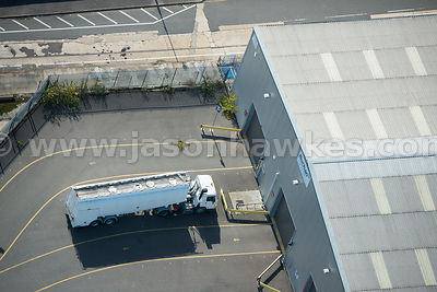 Aerial view of lorry at industrial estate, North Woolwich