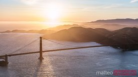 Aerial of Golden gate bridge at sunset, San Francisco, California, USA
