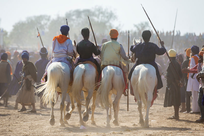 Sikh Nihang Warriors Arrive for the Horse Gamea at the Holla Mohalla Festival