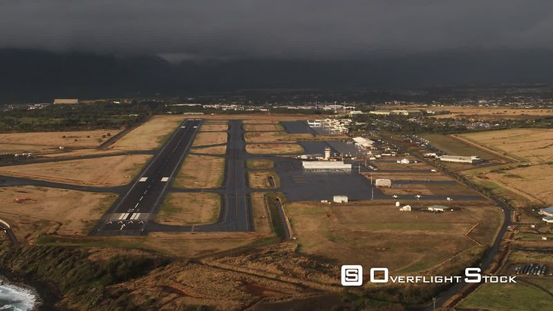 Approaching Lihue Airport under cloudy skies, Hawaii.