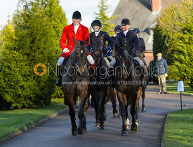 James Mossman, Nicky Hanbury leaving the meet at Barrowcliffe Farm