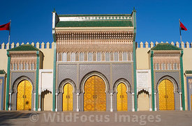 The entrance to the Royal Palace (Dar el-Makhzen) Fes, Morocco; Landscape