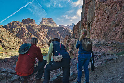 Hikers Overlooking Phantom Ranch-Grand Canyon