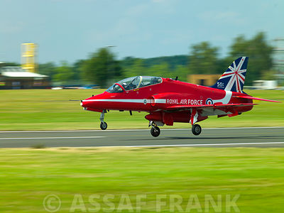 Red Arrow on runway at Farnborough International Airshow 2014