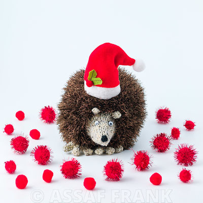 Christmas hedgehog on white background