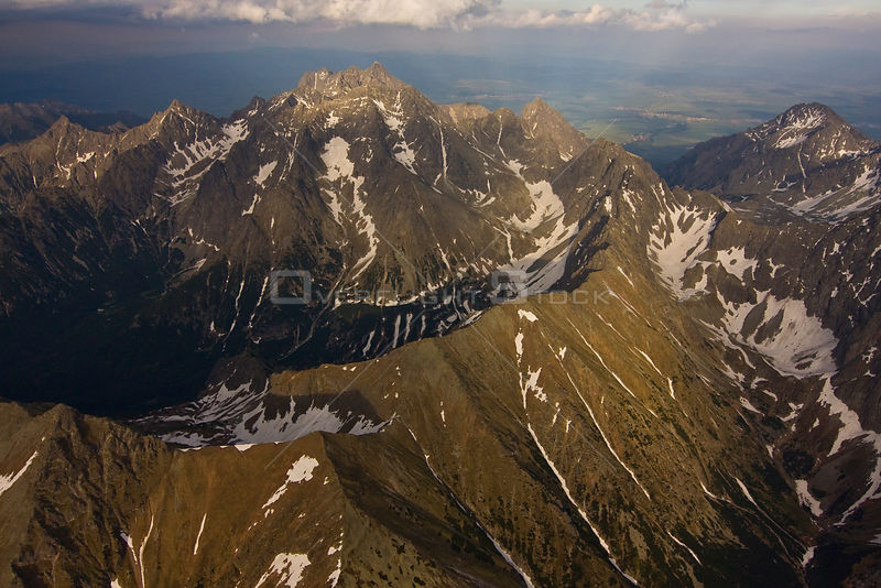 Aerial view of the massif of Mount Gerlach (2,665m) the highest peak of the Tatras, High Tatras, Carpathian Mountains, Slovakia, June 2009
