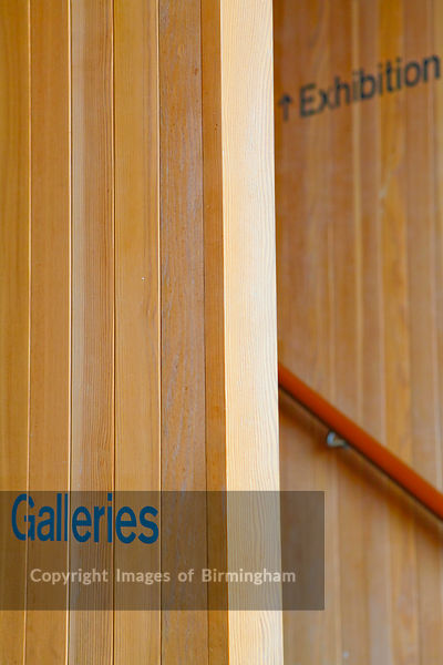 Staircase at a gallery showing the way to the gallery and the exhibition. The New Art Gallery Walsall.