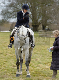 Juliet Packe-Drury-Lowe at the meet - The Cottesmore Hunt at Grange Farm