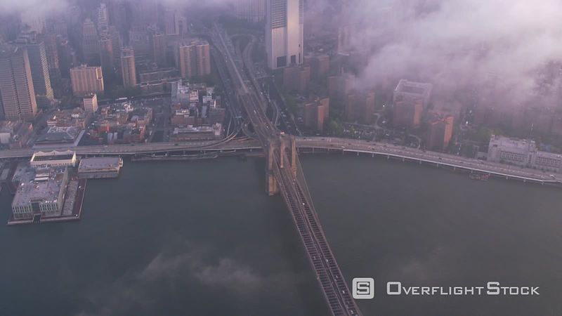 New York City High angle aerial view of Brooklyn Bridge.  Shot with Cineflex and RED EpicW Helium.