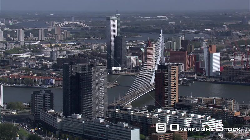 Past the Erasmus Bridge and waterfront highrises in Rotterdam, The Netherlands