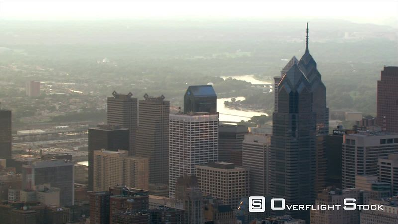 Afternoon flight over downtown Philadelphia.