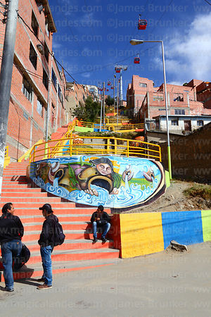 Street art and painted steps in a Barrio de Verdad, La Paz, Bolivia