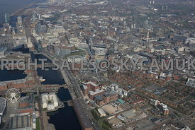 Liverpool high level view of The Baltic Triangle development area of Liverpool City Centre with Liverpool City in the background