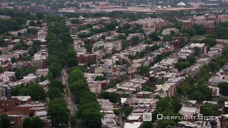 Washington, D.C. Aerial view of Washington D.C. neighborhood.  Shot with Cineflex and RED EpicW Helium.