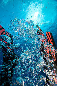 Scuba diver in SCUBAPRO Twin Jet fins (red and black) on Columbia divesite, Cozumel, Mexico
