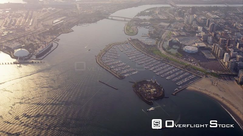 Aerial View Of Long Beach Marina And Ocean Liner Queen Mary, RED R3D 4k California