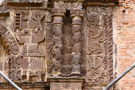 Detail of upper right side of main entrance facade of Santa Cruz of Jerusalem church, Juli, Puno Region, Peru