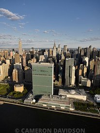 Aerial photograph of the United Nations Building in New York City.