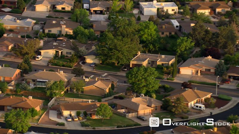 Flying over Albuquerque suburban residential area.