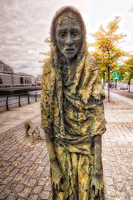 Famine Memorial, Woman & Dog- Dublin, Ireland
