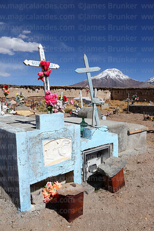Caquena cemetery, Pomerape volcano in background, Region XV, Chile