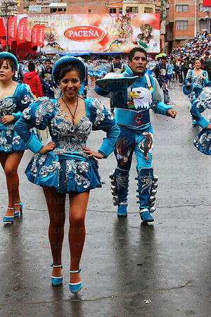 Female Caporales dancers at Oruro Carnival, Bolivia