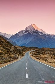 The road to Aoraki mount Cook, Canterbury, New Zealand