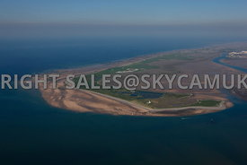 Walney Island aerial photograph showing the island and looking towards Barrow in Furness Cumbria